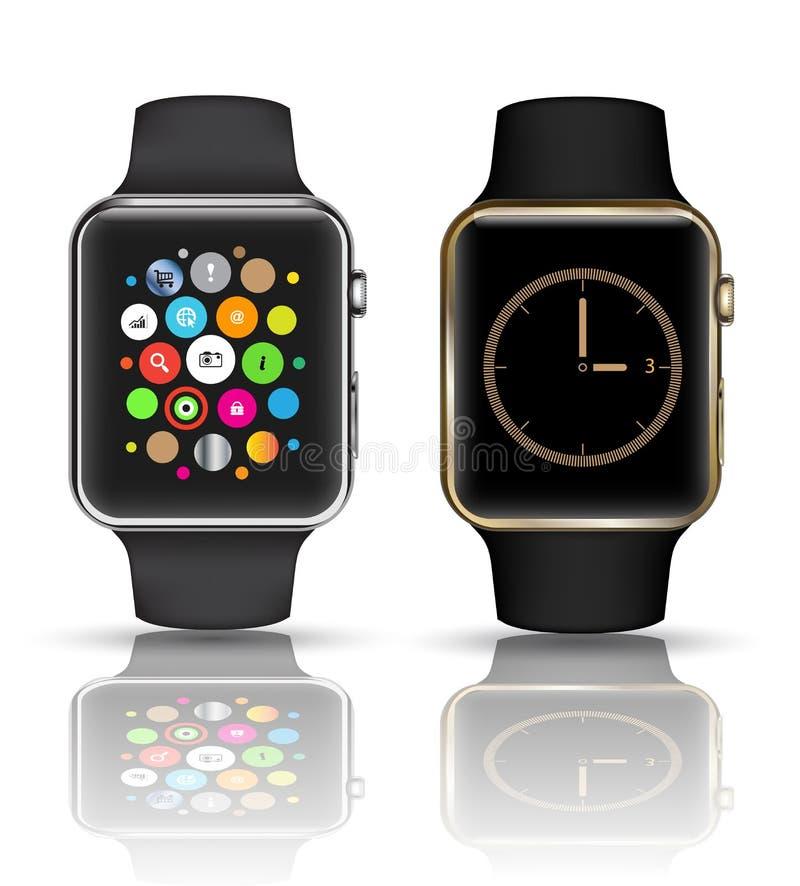 聪明的手表银和金子颜色 皇族释放例证