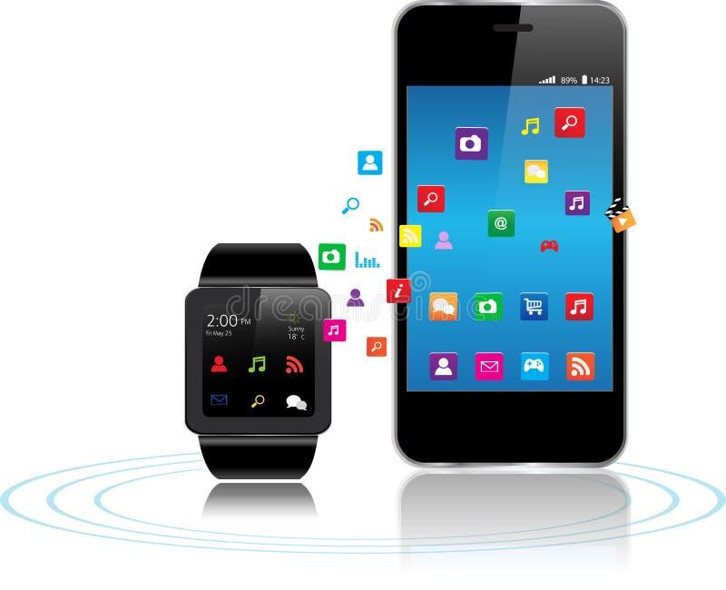 聪明的手表apps 库存例证