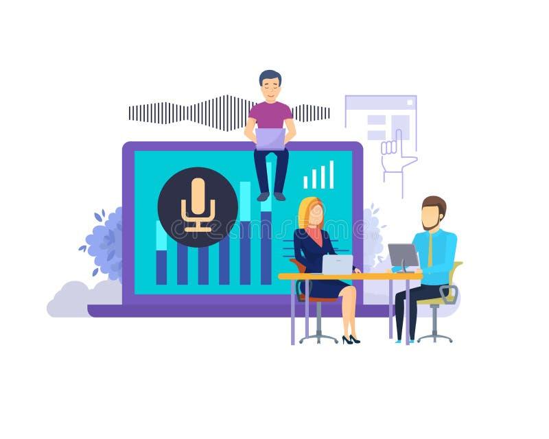 聪明的报告人或声音助理 人工智能,数字聪明的报告人 库存例证