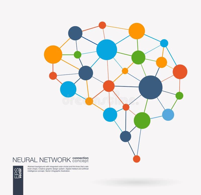 聪明的数字式脑子想法 未来派神经网络交互式栅格概念 创造性的人工智能认为滤网 皇族释放例证