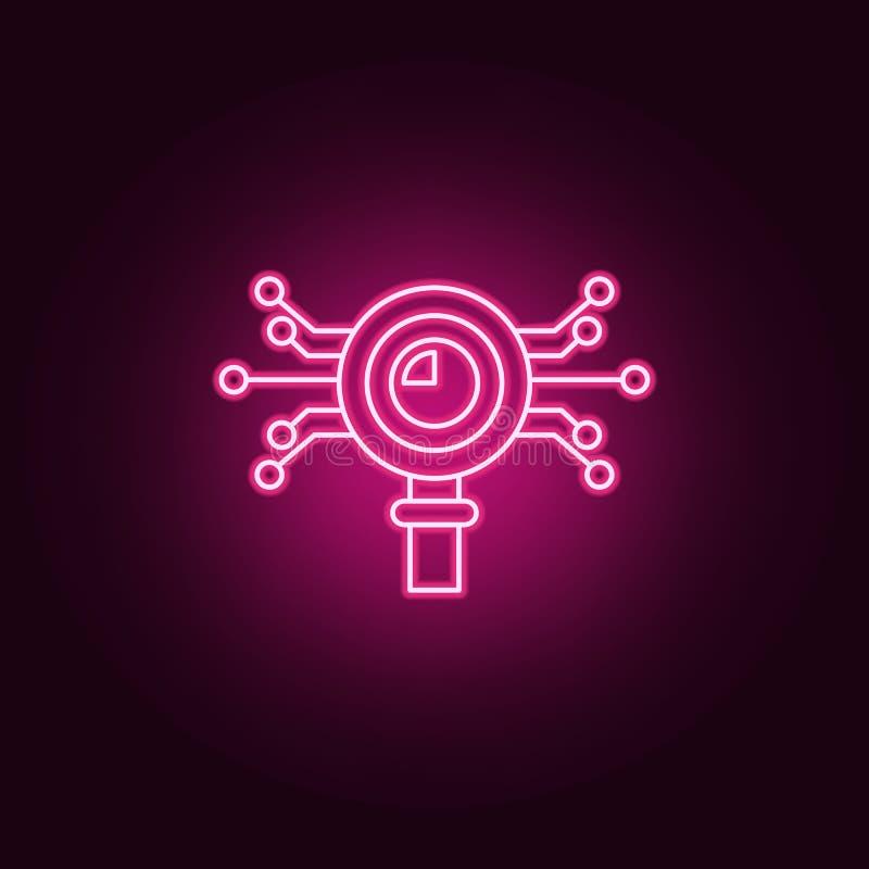 聪明的数据分析象 元素的人为在霓虹样式象 网站的简单的象,网络设计,流动应用程序,信息 库存例证
