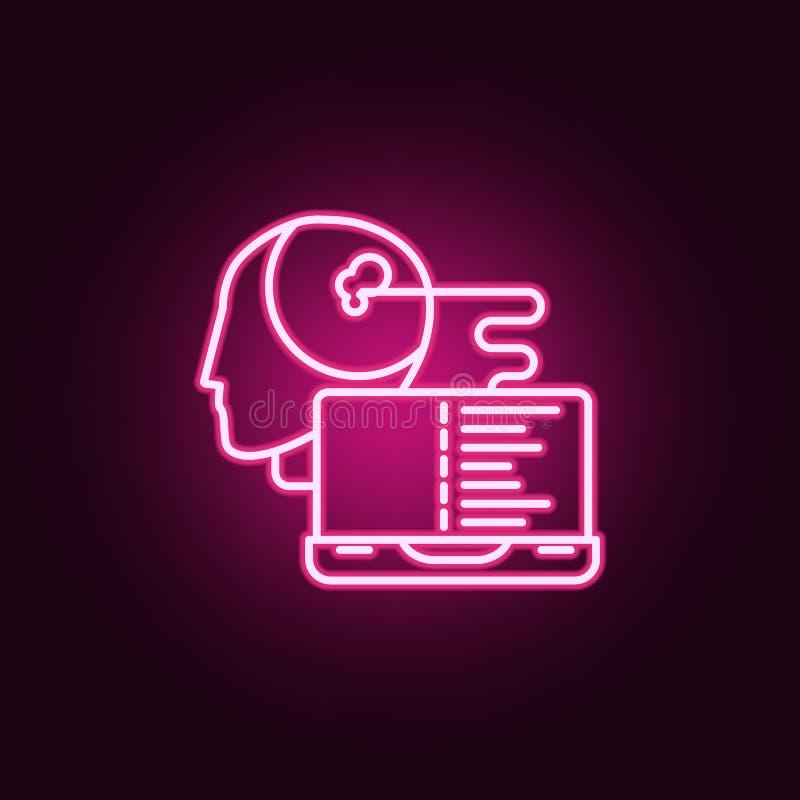 聪明的机器人人工智能霓虹象 人工智能集合的元素 网站的简单的象,网络设计, 库存例证