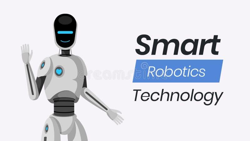 聪明的机器人学技术传染媒介横幅模板 友好的有人的特点的靠机械装置维持生命的人挥动的手字符,人为 向量例证