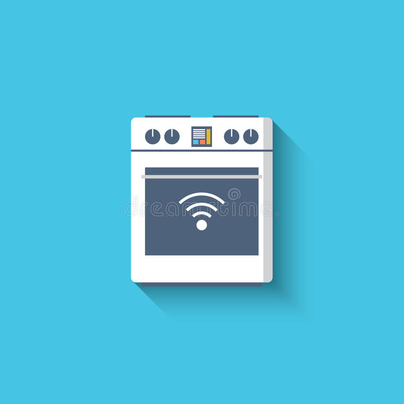 聪明的烤箱,烹饪器材,火炉象 聪明的厨房 向量例证