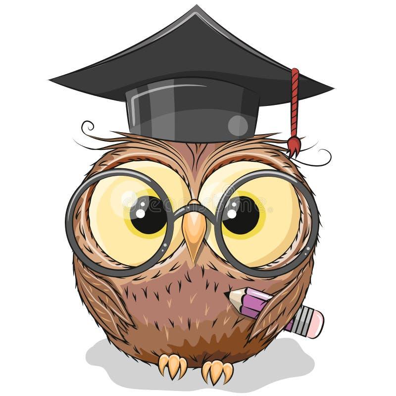聪明的猫头鹰与铅笔和在毕业盖帽 向量例证