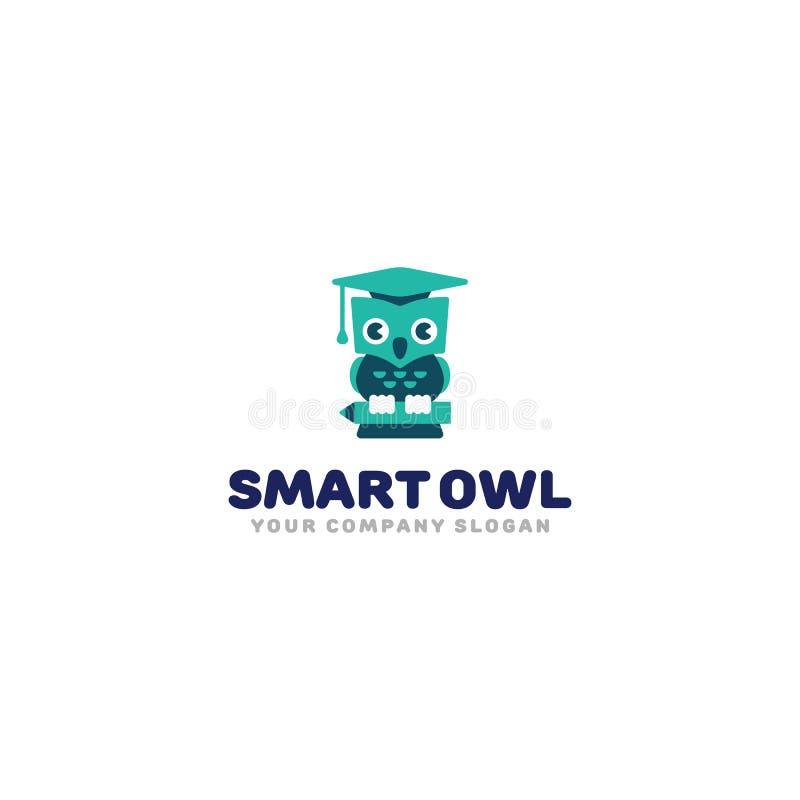 聪明的猫头鹰商标 在毕业帽子的逗人喜爱的动画片猫头鹰 孩子研究标志传染媒介模板 向量例证