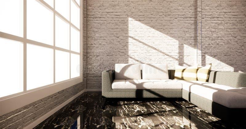 聪明的电视大模型的嘲笑与垂悬在内阁装饰的空白的黑屏幕,现代客厅禅宗样式 3d?? 库存例证