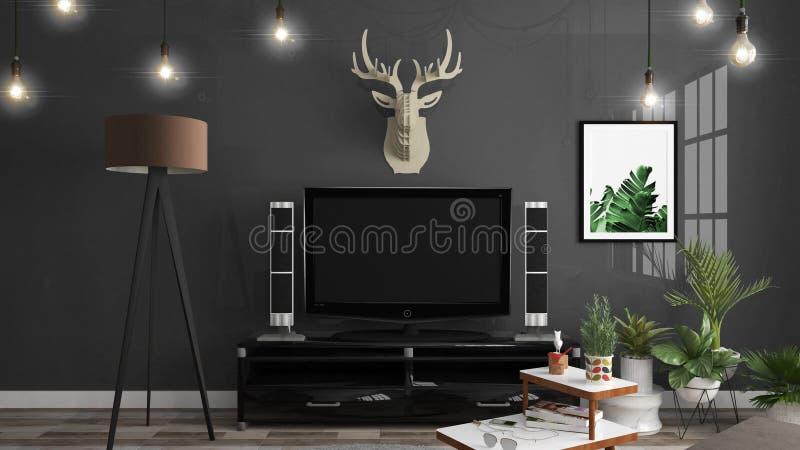 聪明的电视大模型的嘲笑在内阁装饰,现代客厅禅宗样式 3d?? 向量例证