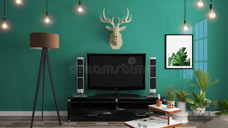 聪明的电视大模型的嘲笑在内阁装饰,现代客厅禅宗样式 3d?? 库存例证
