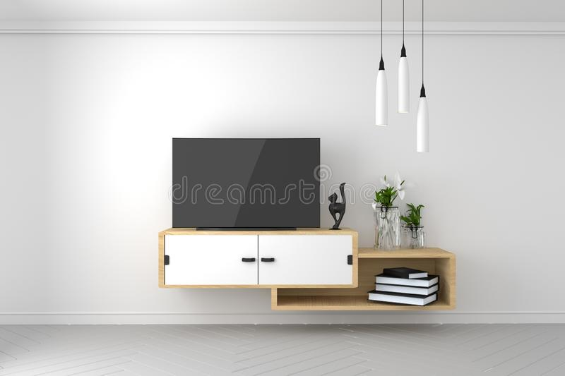 聪明的电视大模型的嘲笑在空的室,在现代空的内部的白色墙壁 3d?? 库存例证