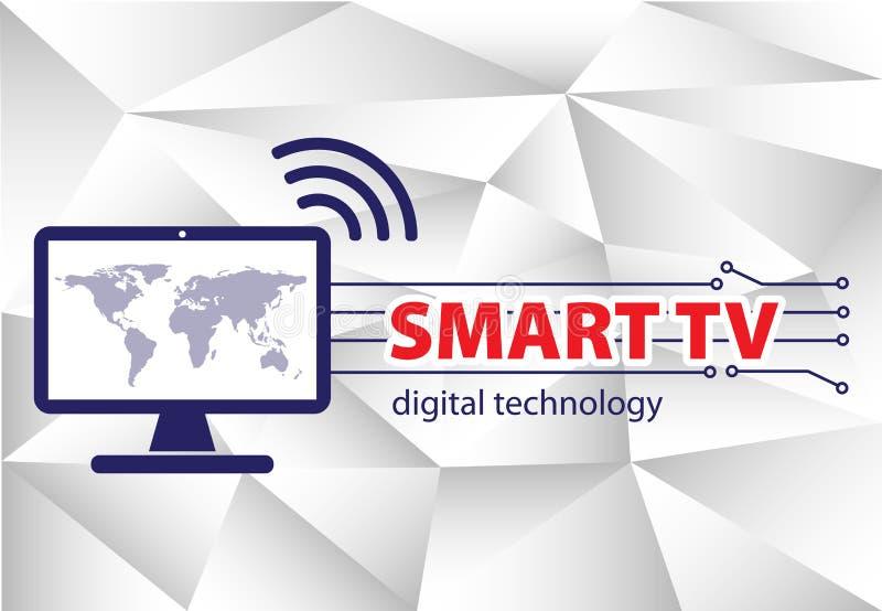 聪明的电视 在多角形背景的聪明的电视接口概念 皇族释放例证