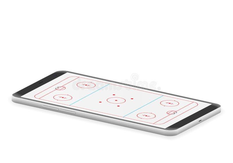 聪明的电话曲棍球溜冰场 向量例证