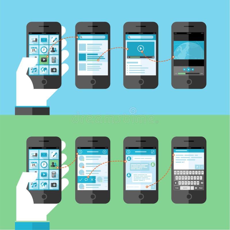 聪明的电话服务和apps的平的设计观念 向量例证