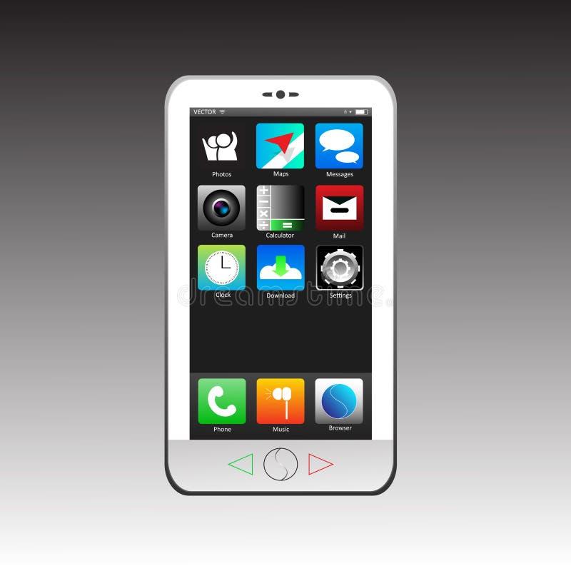 聪明的电话白色集合app传染媒介 免版税库存照片
