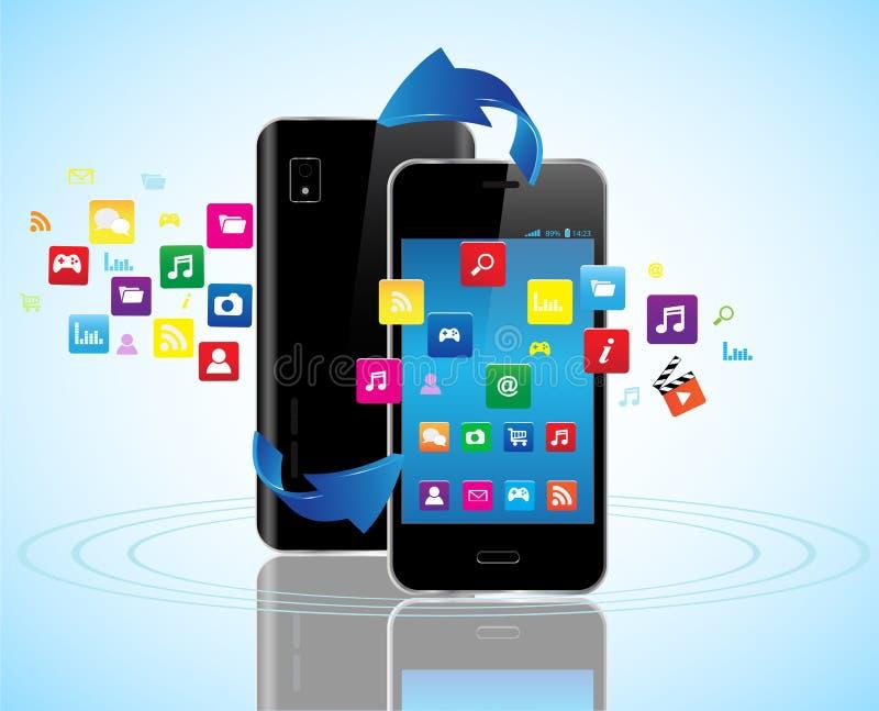聪明的电话apps 库存例证