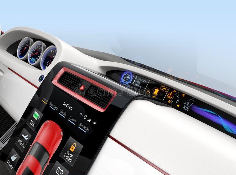 聪明的电车的中心多信息控制台设计 皇族释放例证