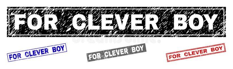 聪明的男孩被抓的长方形邮票封印的难看的东西 向量例证