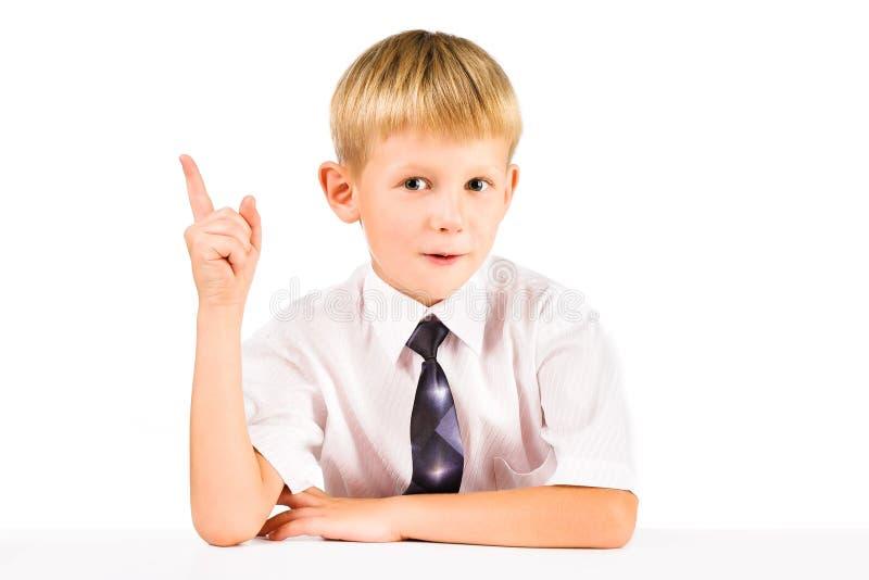 聪明的男小学生查找了解决方法。 尤里卡 免版税库存图片