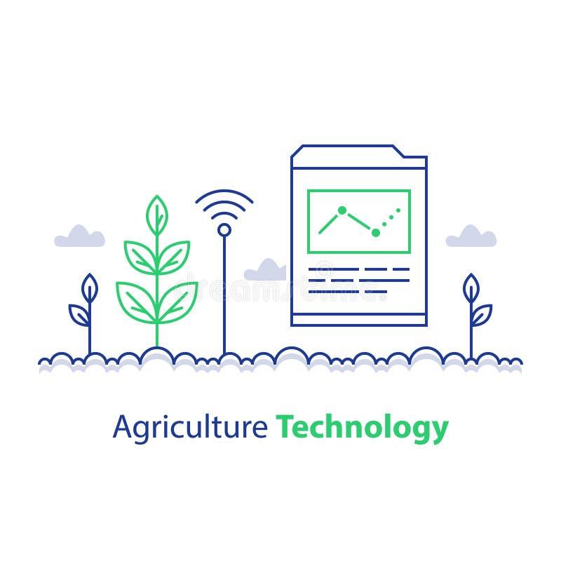 聪明的种田,农业技术、植物词根和报告图,创新概念,自动化解答,成长控制 库存例证
