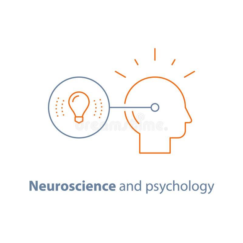 聪明的解答,创造性思为,想象力、概念想法、神经科学和心理学 向量例证