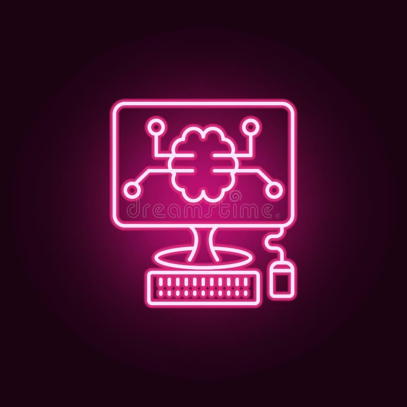 聪明的计算机数字脑子霓虹象 人工智能集合的元素 网站的简单的象,网络设计,流动app 库存例证