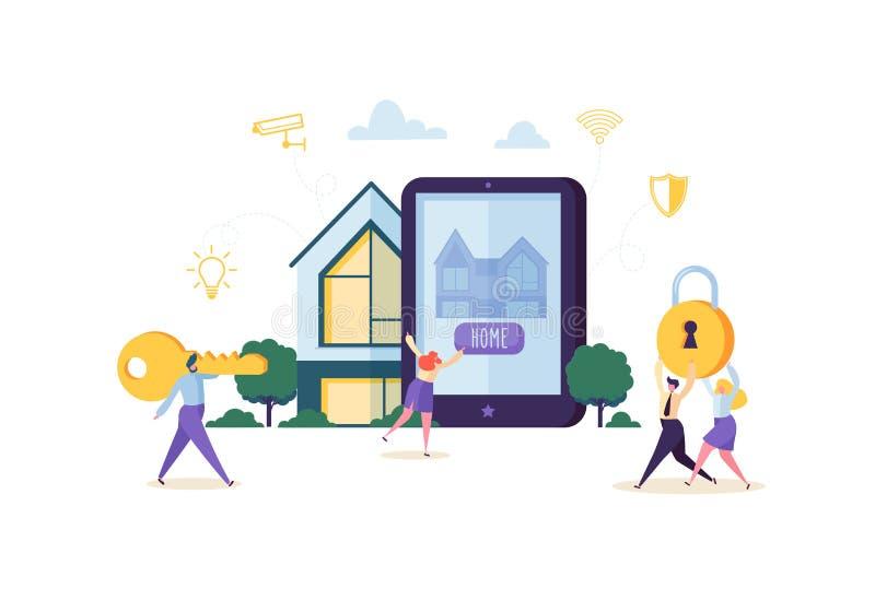 聪明的议院技术概念 控制家庭Sequrity和力量能量与流动App的人字符在片剂 向量例证