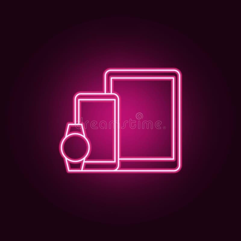 聪明的设备电话手表象 元素的人为在霓虹样式象 网站的简单的象,网络设计,流动应用程序,信息 库存例证