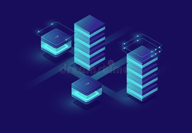 聪明的都市城市,数据中心和数据库,大数据处理的概念有服务器室和数据库象的 皇族释放例证