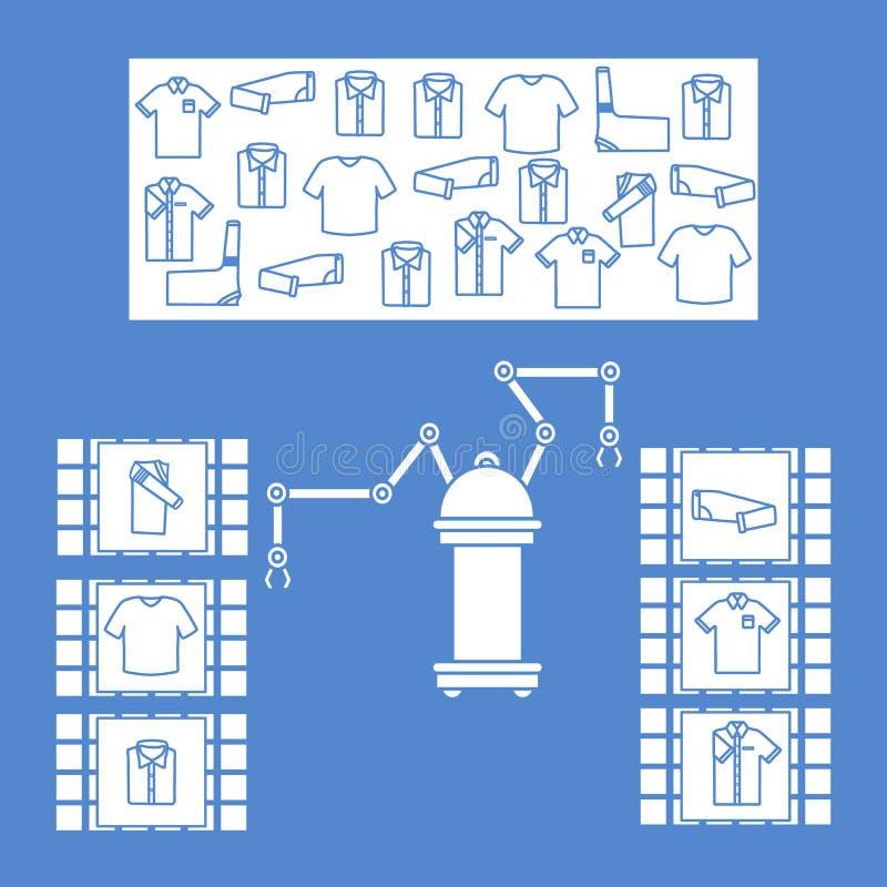 聪明自动机器人排序衣裳 人的替换有机器人机制的 人工智能的发展 皇族释放例证