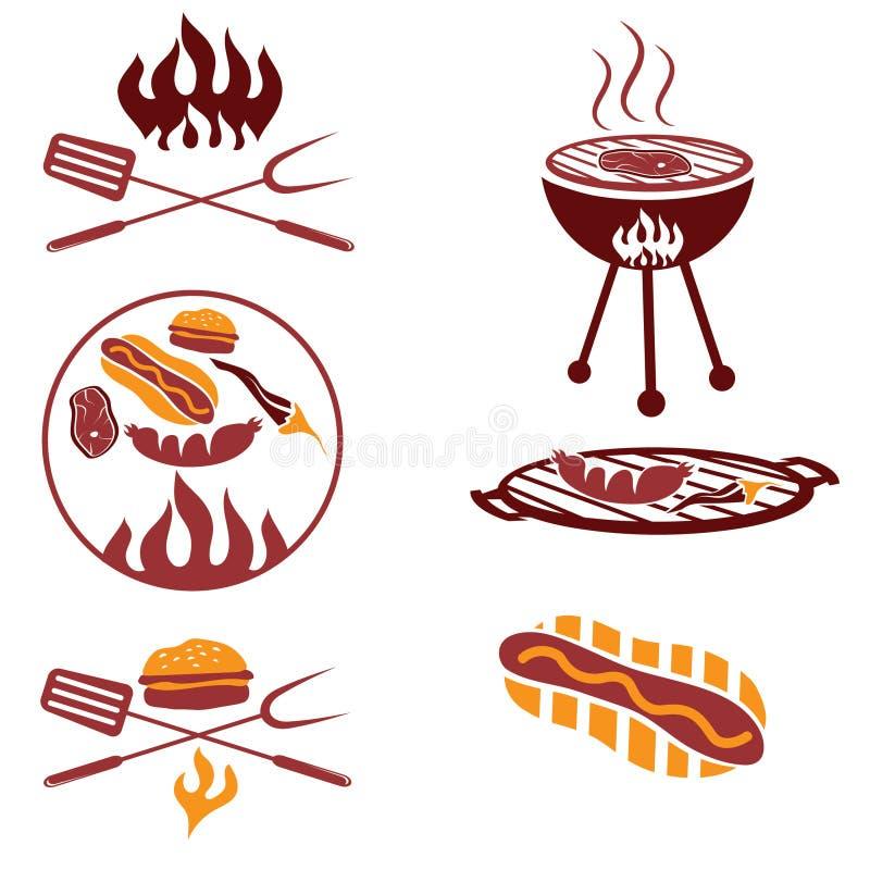 肉、热狗和汉堡 向量例证