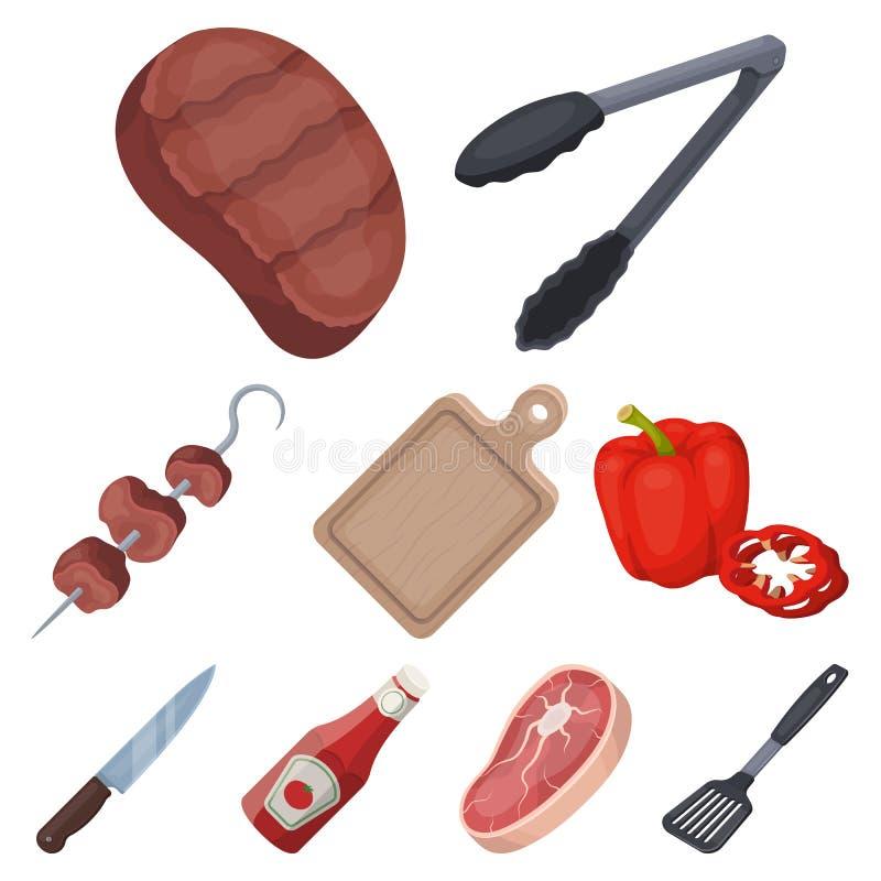 肉、牛排、木柴、格栅、桌和其他辅助部件烤肉的 在动画片样式传染媒介的BBQ集合汇集象 向量例证