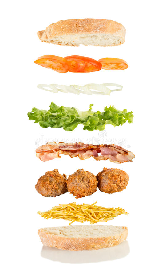 Download 肉丸三明治 库存照片. 图片 包括有 蕃茄, 莴苣, 巴西, 展开, 飞行, 筹码, 工作室, 背包, 垂直 - 72369306