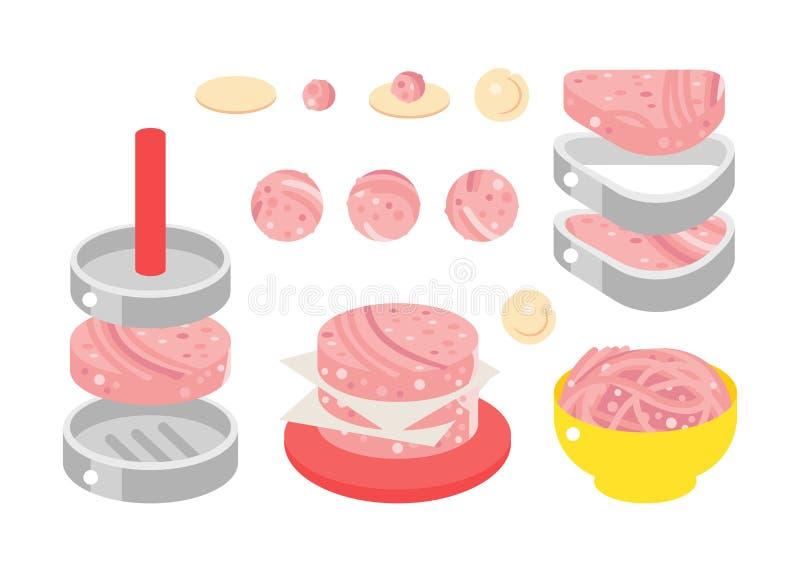 肉制品平的设计例证 库存例证