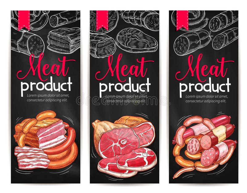肉制品熟食传染媒介横幅剪影 皇族释放例证