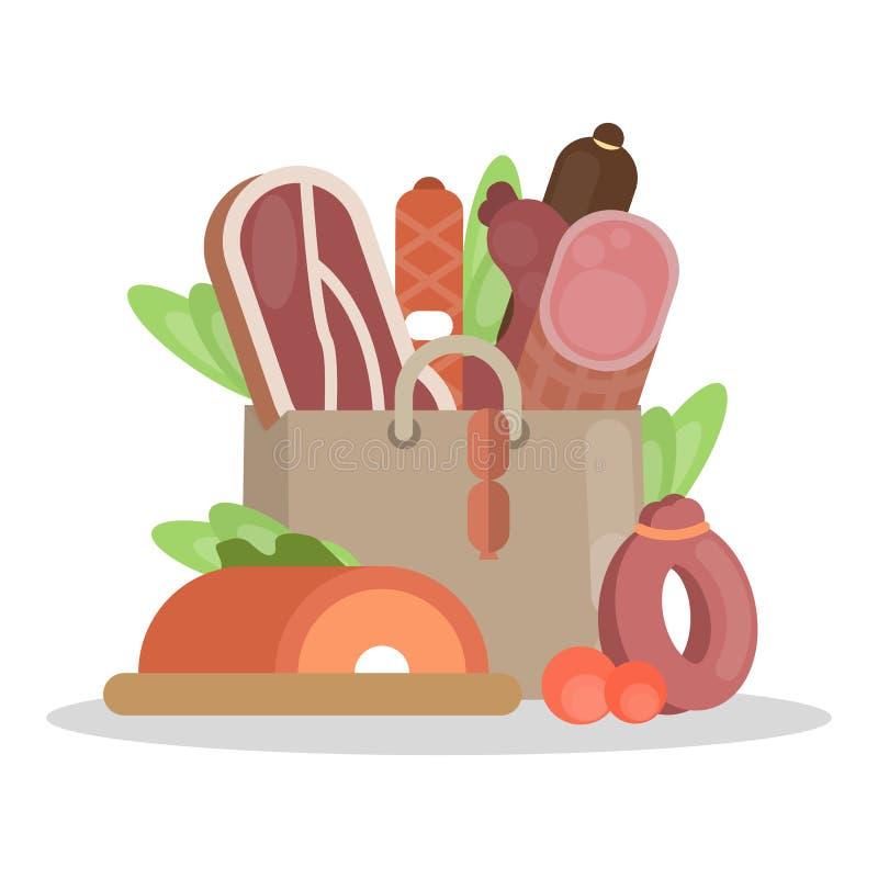 肉制品袋子 向量例证