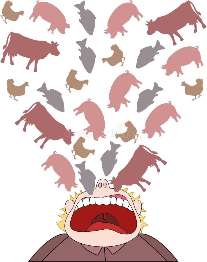 肉可笑消耗量的贪婪 向量例证