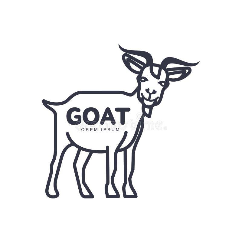肉和乳制品的山羊顶头商标模板 皇族释放例证