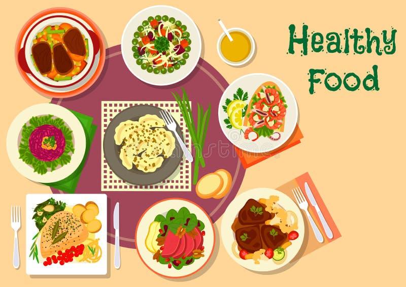 肉和沙拉健康食物的盘象设计 向量例证