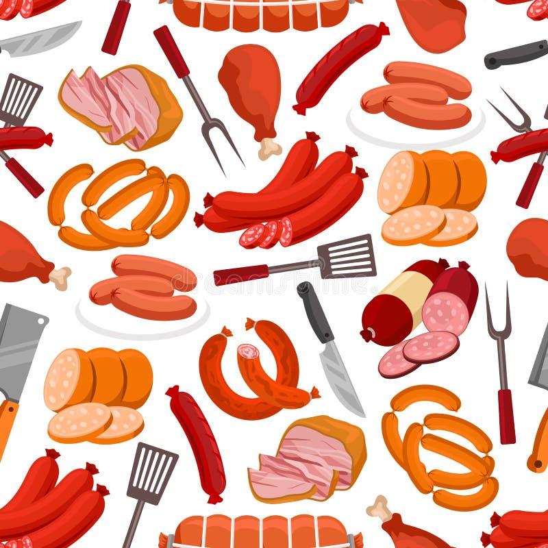 肉和香肠传染媒介无缝的样式 皇族释放例证