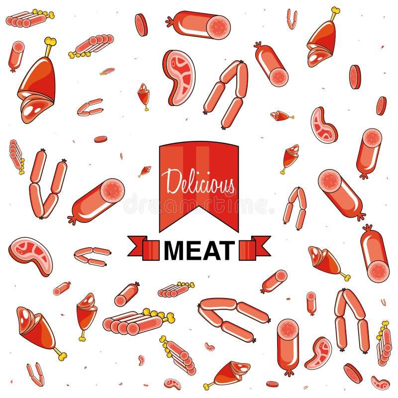 肉和香肠的样式 库存例证