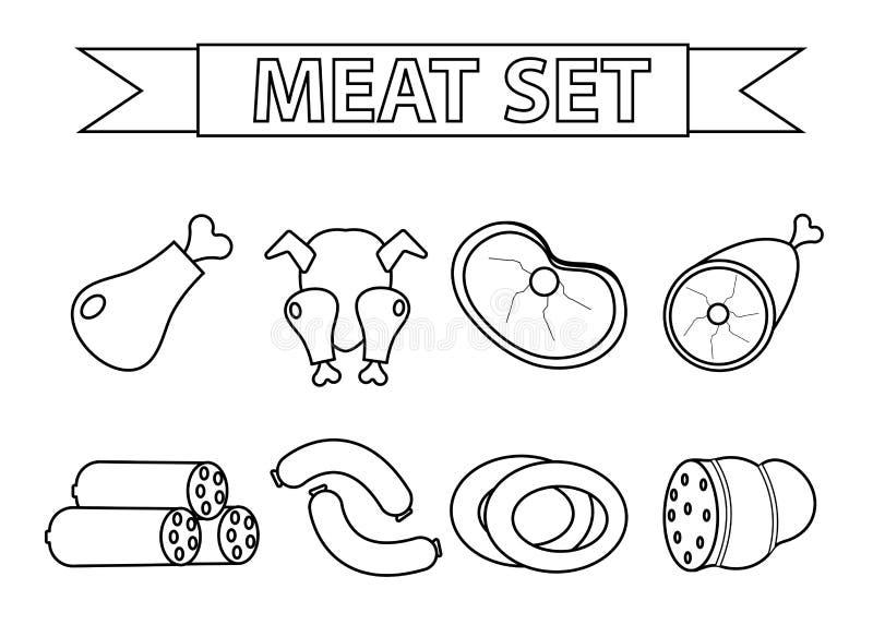 肉和香肠象集合,现代线型 背景查出的白色 产品,食物 也corel凹道例证向量 皇族释放例证