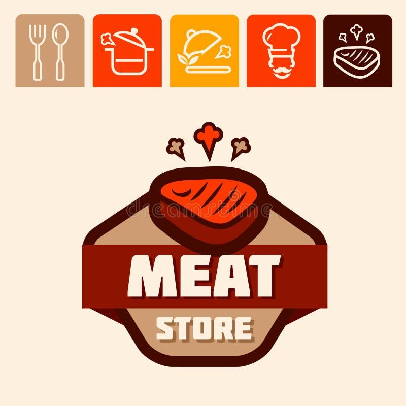 肉商店商标 库存例证