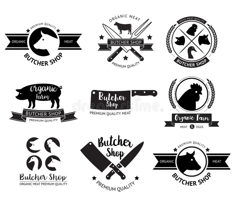 肉店商标和标签 向量 皇族释放例证