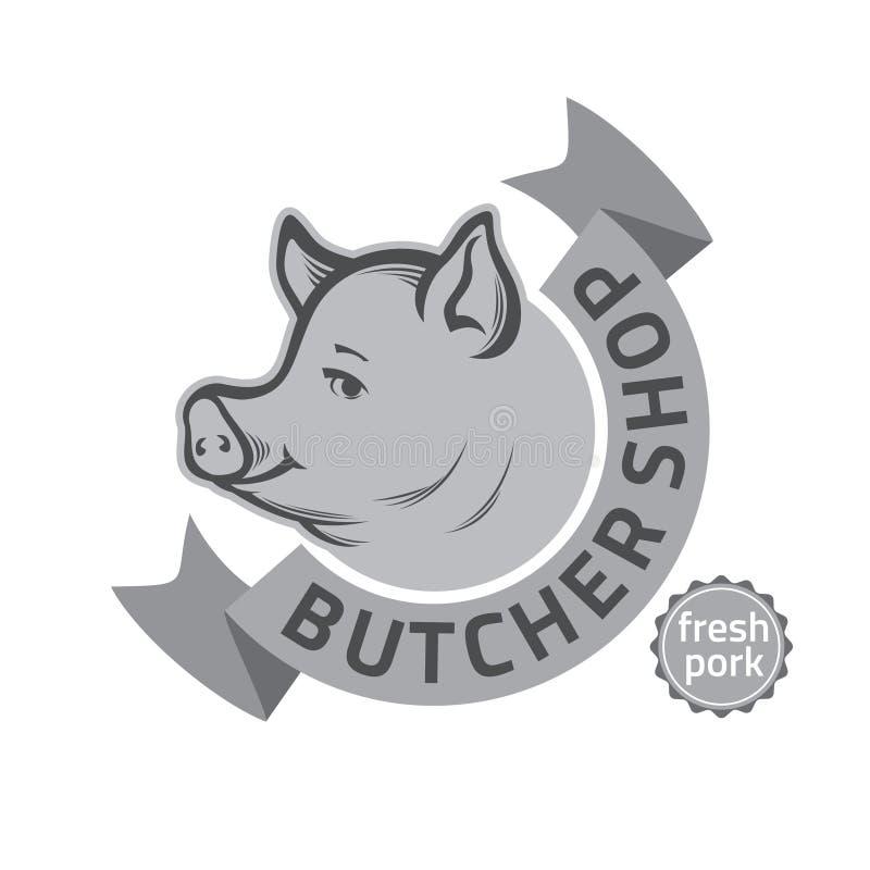 肉店商标 向量例证