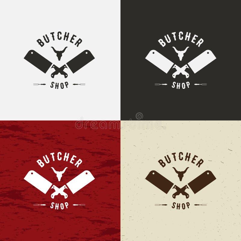 肉店在葡萄酒样式的设计元素略写法的,标签、徽章, T恤杉和其他设计 母牛面孔和刀子减速火箭的vecto 向量例证