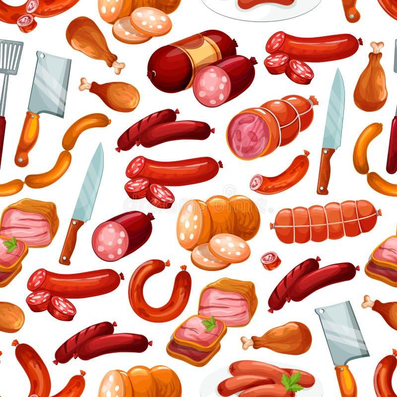 肉店工作农厂肉香肠无缝的样式 向量例证