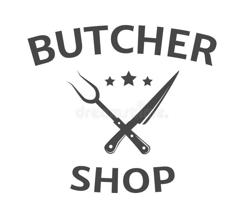 肉店工作商标,牲口,商店象征,商标模板 库存例证