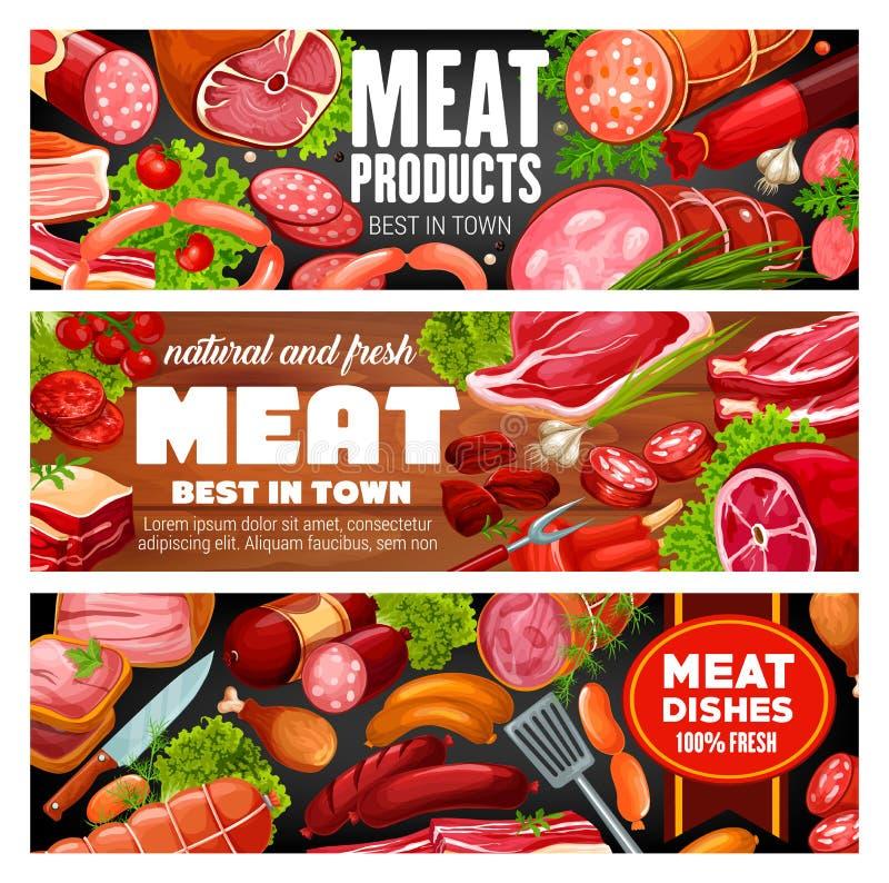 肉店工作肉和香肠食品 皇族释放例证