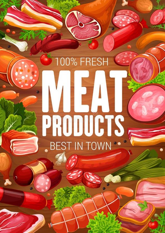 肉店工作肉食家香肠产品海报 库存例证