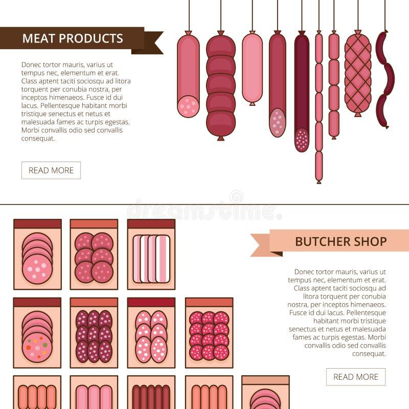 肉店横幅 肉类和烤肉香肠产品 多种 皇族释放例证